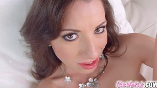 Brunette teases and zooms in real close