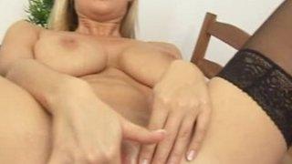 Busty blonde Carol sex toy masturbation