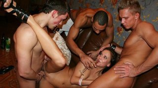 Threesome orgy at student sex party Thumbnail