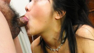 Oriental cougar gets face fucked deep and hard Thumbnail