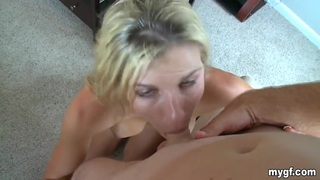 Blonde girl gets fucked and creamed by her BF