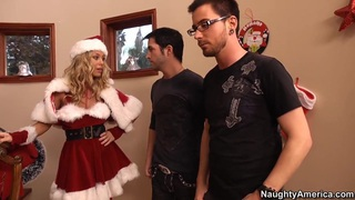 Sexy blonde Nicole Aniston is all Santa'd out in red Thumbnail