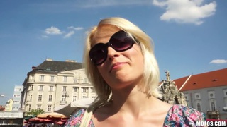 Slim pale blonde Catherine gets filmed in public Thumbnail