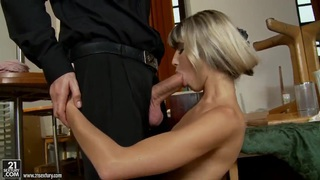 Doris Ivy is afraid that she can't swallow such a big cock