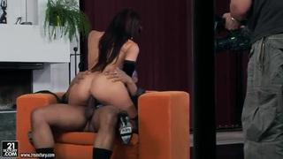 Hot Aletta Ocean in lingerie rides on black cock