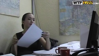 Hot brunette office lady Natasha getting pleasured in her office Thumbnail