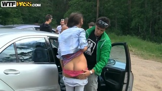 Hot russian chicks banging outdoors in forest casting Ally and Eniko Thumbnail