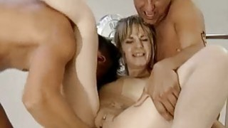 Tattooed blond milf fisted by two studs Thumbnail
