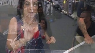 A sexy latin chick bangs at the back office for some cold cash Thumbnail
