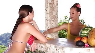 Nicole Aniston gets licked by hot Mia Malkova on a terrace Thumbnail