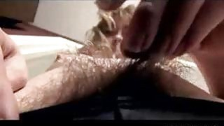 Fingering my spread untrimmed pussy in living room Thumbnail