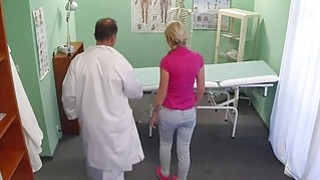 Slim blonde sucks cock to doctor