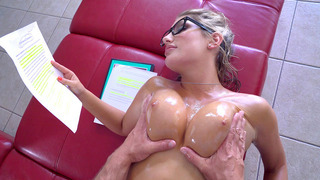 August Ames having him oil up and massage her tight body