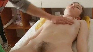 Naturallybushed babe has hot sex after a massage