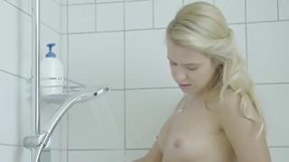 Cute virgin teen masturbating in the shower
