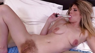 Small titted MILF masturbating with a dildo Thumbnail