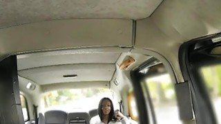 Sexy ebony gives a blowjob and pounded by fake driver