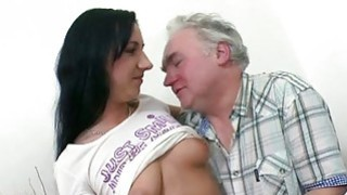 Young playgirl enjoys old dick in mouth and pussy Thumbnail