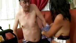 Super hot brunette rides fat cock on a horny handicapped man Thumbnail