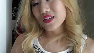A horny dude fucks his hot blonde Asian girlfriend's pussy and gets awesome blowjob Thumbnail