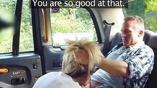 Hot blonde cab driver deep throats in public