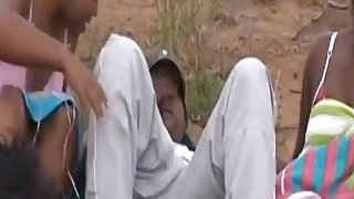 African slave enjoys banging in group outdoors Thumbnail