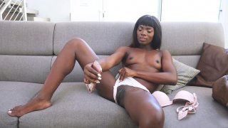 Ebony cutie Ana Foxxx is doing erotic selfies on smartphone Thumbnail