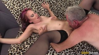 Older Floozy Zoe Matthews Has a Thick Cock Pushed in Her Mouth and Cunt Thumbnail