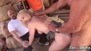Husband watches blonde wife Liz Black get fucked by big dick before facial Thumbnail