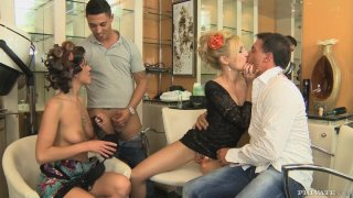 Kristyna Kristal and Nataly Von cocksuck in a group sex Thumbnail