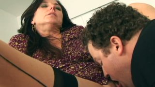 Sexy hot milf Karen Kougar in stockings giving a blowjob and fucks Thumbnail