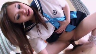 Teen Japanese Reina is in the process of ardent dick sucking action Thumbnail