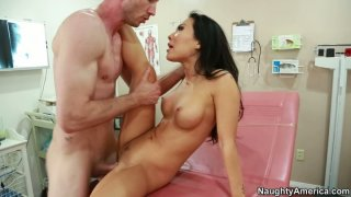 Hot and kinky brunette Asa Akira is a slutty doctor pleasing a cock Thumbnail